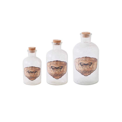 Vintage Glass Bottle with butterfly decal - large