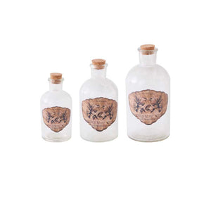 Vintage Glass Bottle with butterflies decal - medium