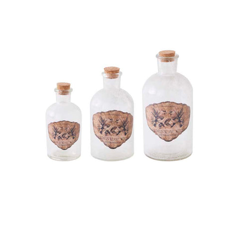 Vintage Glass Bottle with Bird decal - large