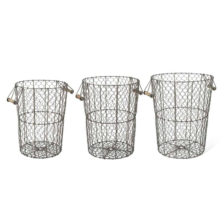 Chicken Wire Nested Basket with wood handles - Medium