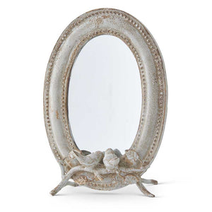 Oval Metal Mirror with Birds