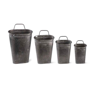 Galvanized Metal Oval Wall Buckets