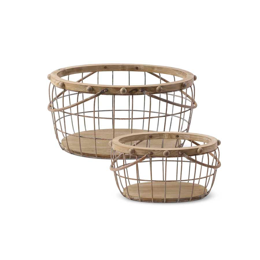 Set of 2 Wood and Wire Nesting Oval Baskets
