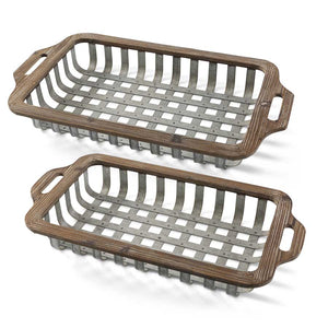 Open Weave Wood and Tin Rectangular Nesting - Set