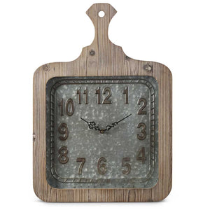 Wood and Tin Square Breadboard Clock