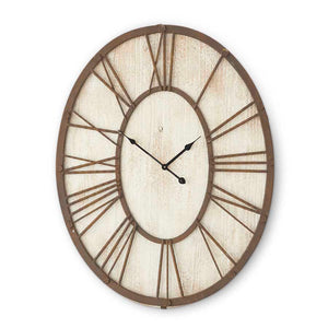 "30"" Whitewashed Wood Oval Clock w/Rusty Metal Roman Numerals! PICK UP ONLY!"