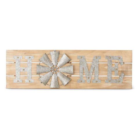 Wood and Tin HOME Wall Sign with Windmill