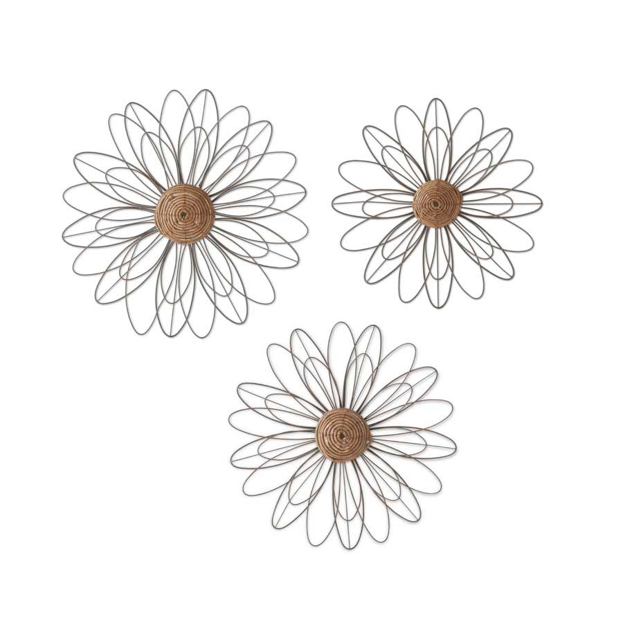 Set of 3 Wire Decorative Wall Flowers