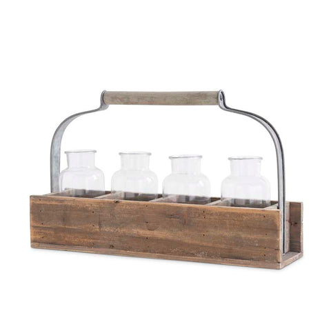 Rectangle Wood Planter Box With 4 Glass Bottles