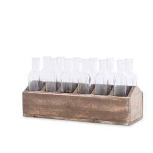 Wood Planter Box with glass bottles