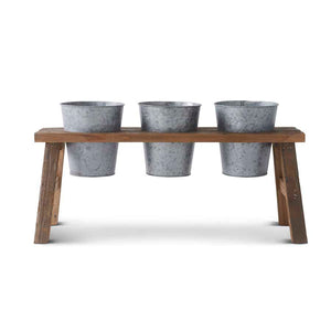 Wood Bench with 3 tin buckets