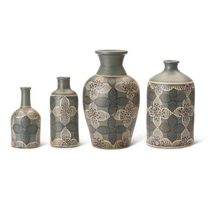 Green Terracotta Vase with Floral Design - Medium