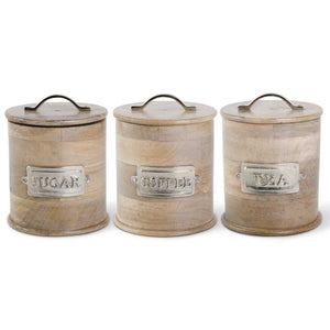 Set of 3 Wood Canisters with Metal Handles