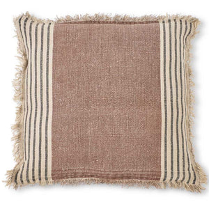 Brown Tweed Linen Pillow - Square
