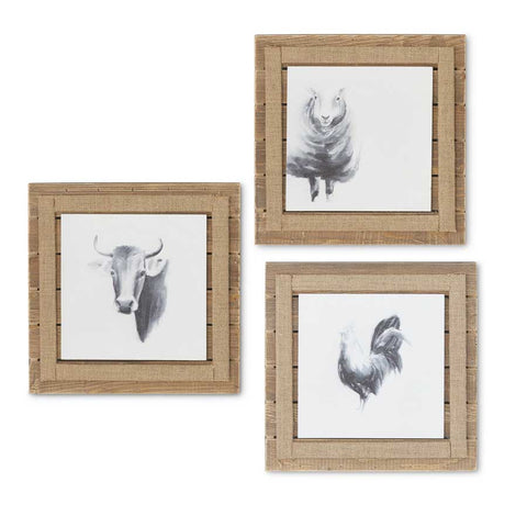 Rooster Picture - slatted wood with Burlap Trim