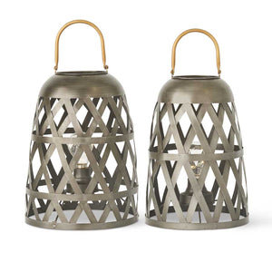 Dark Metal Diamond Fenced LED Lanterns with Gold Handle - 17 inch