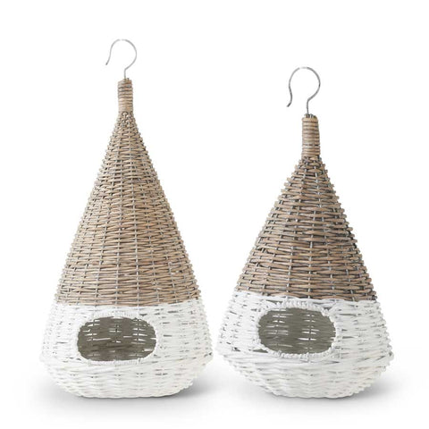 Natural and White Wicker Cone Hanging Birdhouse - Small