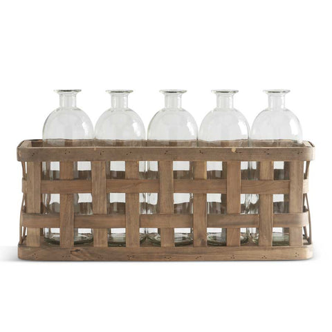 Woven Wood basket with 5 glass bottles