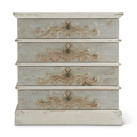 "35.5"" Whitewashed and Light Blue 4 Drawer Dresser! PICK UP ONLY!"