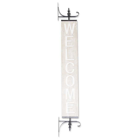 Whitewashed Vertical WELCOME Sign on Black Metal Bracket! PICK UP ONLY!