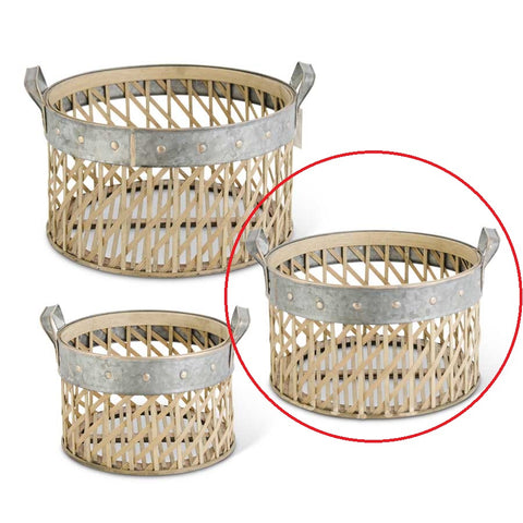 Medium Round Woven Bamboo Basket w/Metal Trim and Handles