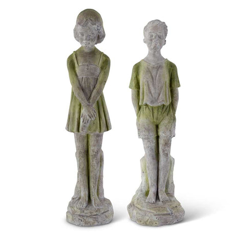 Assorted Gray w/Green Resin Boy & Girl Statue! TWO Style Options!