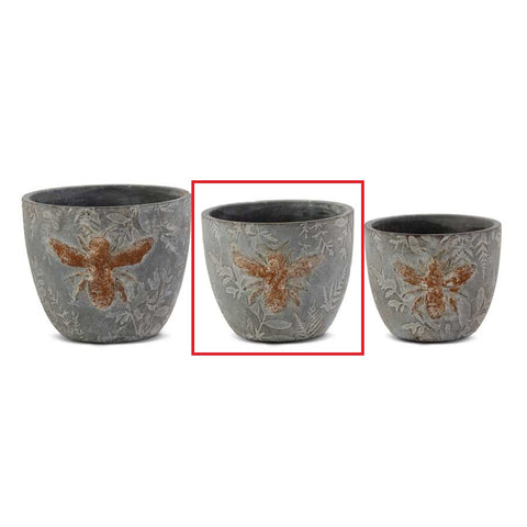 "5.25"" Weathered Gray Cement Pot w/Embossed Bee"