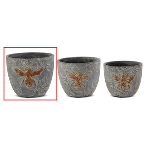 "6"" Weathered Gray Cement Pot w/Embossed Bee"