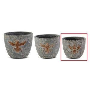 "4.5"" Weathered Gray Cement Pot w/Embossed Bee"