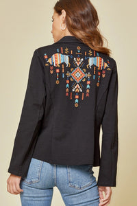 Savanna Jane Embroidered Black Blazer Jacket