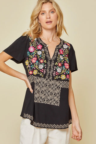 Savanna Jane Embroidered Short Sleeve Blouse
