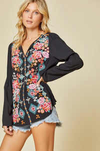 Savanna Jane Black Embroidered Top