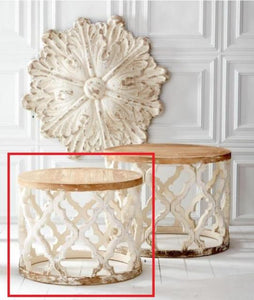 Small Weathered White Wood Quatrefoil Table! PICK UP ONLY!
