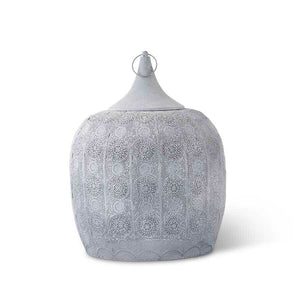"21.5"" Round Gray Metal Moroccan Lantern w/Punched Mandala Pattern! PICK UP ONLY!"