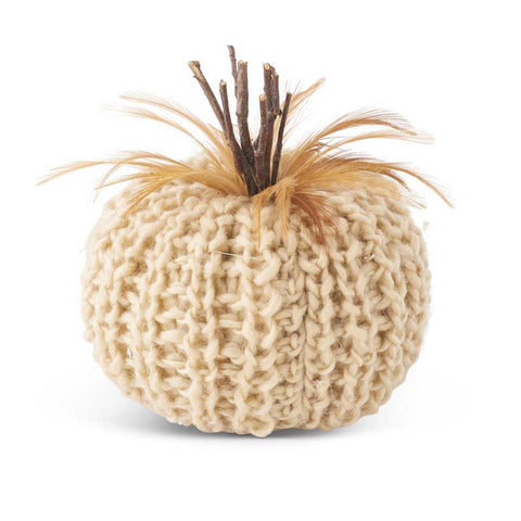 5 Inch Cream Crochet Pumpkin with Wood Stem and Feathers