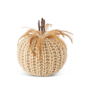 7 Inch Cream Crochet Pumpkin with Wood Stem and Feathers