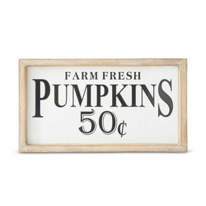 16 Inch Wood Framed Enamel FARM FRESH PUMPKINS Sign