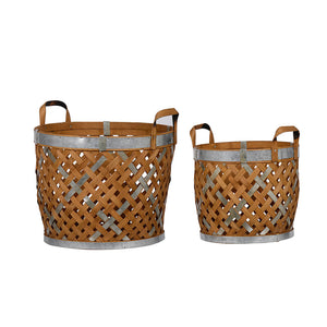 Wooden Woven Baskets Set of 2