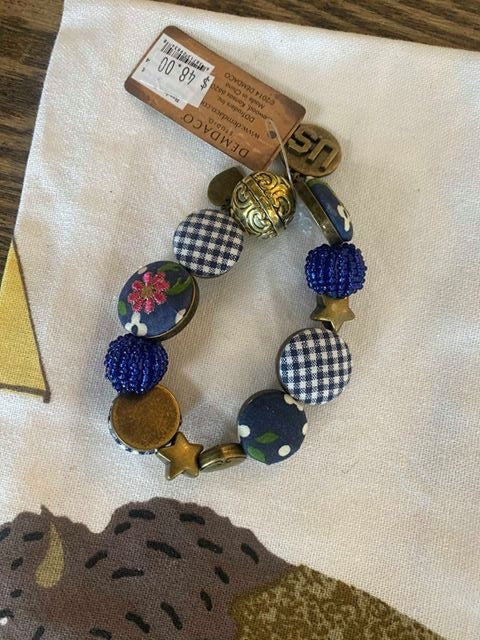 Navy Button Bracelet