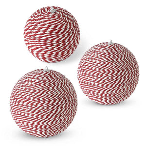 Set of 3 Nesting Red and White Ball Ornaments