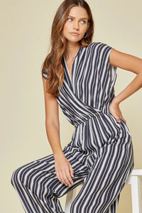 Andree by Unit Navy Striped Jumpsuit