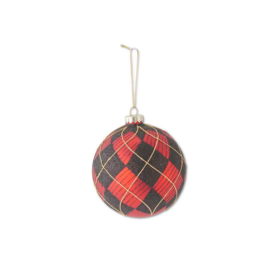 4.5 Inch Round Glass Red/Black and Gold Plaid Ornament