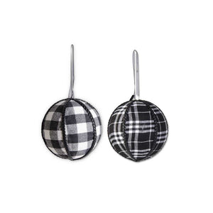 Set of TWO 4 Inch Assorted Black & White Tartan Fabric Ornament