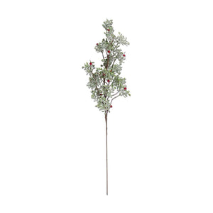 30 Inch Glittered Mistletoe Stem w/Red Berries