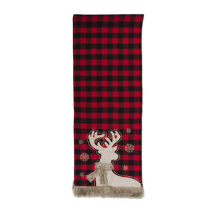 72 Inch Flannel Buffalo Plaid Table Runner w/Fur Trim and Deer
