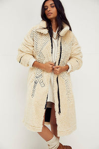 Free People Avery Embroidered Teddy Coat