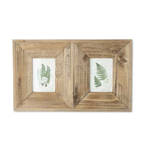 "21"" Double Fern Prints in Wooden Frame (Also Holds Photos)"