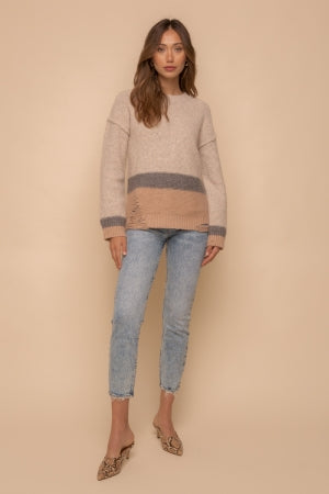 BOTTOM & CUFF DESTROYED DETAIL COLOR BLOCK ROUND NECK SWEATER