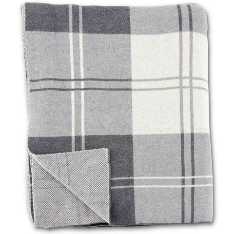 63 Inch Cotton Knit Gray & Cream Tartan Plaid Throw Blanket