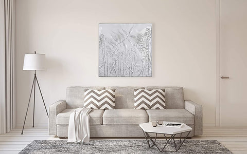 Square White Wall Decor with Embossed Flowers! PICK UP ONLY!
